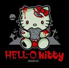Hell-O Kitty Ladies V-neck T-Shirt