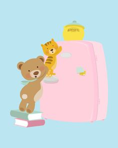 Nursery art print, Children's room art print. A baby bear and a kitten caughts in the act while trying to take cookies, 5x7, Art print.