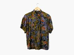 90s Olive Drab Floral Short Sleeve Shirt, Vintage c. 1990s / from SPADRA's on Etsy || nineties / olive / blue / purple / pink / slouchy / oversized / collared / button up / hipster clothing / grunge style / fall fashion