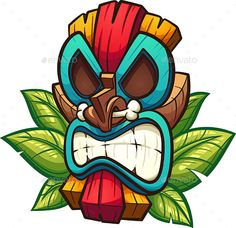Buy Tiki Mask by memoangeles on GraphicRiver. Cartoon colorful tiki mask with leaves. Vector clip art illustration with simple gradients. All in a single layer. Tiki Tattoo, Koala Tattoo, Cat Tattoo, Snake Tattoo, Gorilla Tattoo, Cartoon Kunst, Cartoon Art, Angry Cartoon, Art And Illustration