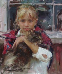 Daniel F. Gerhartz ... Elaina...#cat ... oil painting