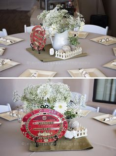 VIntage Lamb Themed Neutral Baby Shower....LOVE the use of baby's breath flowers!!