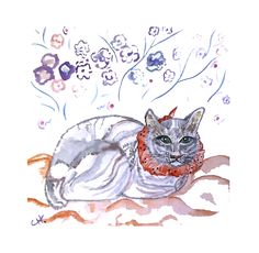 Toile à l'acrylique et à l'aquarelle   Chat au bandana rouge (20X20)