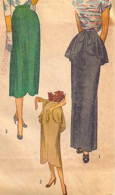 Vintage 40s SIMPLICITY Pattern 2223 Evening Day PEPLUM SKIRT Short Long Shaped