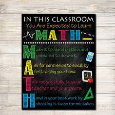 MATH Teacher Classroom Poster, Printable Math Classroom, Math Poster, Math Class Decor, Classroom Rules Sign, Math Teacher Gift, Math Rules