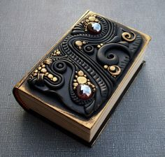 Secret Compartment Book Box Polymer Clay And Glass