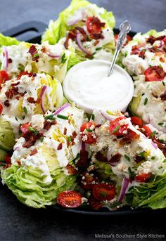 Classic Wedge Salad drizzled with a generous drizzle of homemade blue cheese dressing is not only delicious but, has an appealing presentation to boot. Cobb Salad, Salad Bar, Soup And Salad, Pasta Salad, Chicken Salad, Lettuce Wedge Salad, Iceberg Wedge Salad, Side Salad, Fruit Salad