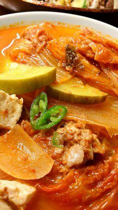김치찌개, Kimchijjigae Spicy and sour Kimchi special !!! The most favorite Korean soup!!! I was so hungry last night, my choice for dinner was this yummy Kimchi stew=) With just cooked rice, this soup was goes so well. I had two bowls of rice but it only took 5mins to finish. lol.   How to enjoy ? A. Get close your nose to Kimchijjigae B. Smell its spicy taste C. Say 'So good~' D. Grab your spoon and pick one Kimchi  E. Put it into your mouth and chew it well F. Feel the spicy taste as much as…