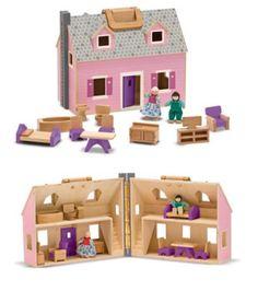 Grosses Puppenhaus zum Mitnehmen inkl. Puppen und Möbel Holz | MD13701 / EAN:0000772137010