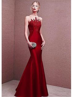 Long Red Lace Satin Illusion Neckline Prom Formal Evening Dresses