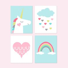 Young Girl Bedroom Decor, Unicorn Girl Room Decor, Rainbow Decor, Cloud Heart Wall Art, Unicorn Wall Art, Set of 4 Unicorn Prints or Canvas Unicorn Wall Art, Unicorn Rooms, Unicorn Bedroom, Unicorn Print, Girl Room, Girls Bedroom, Bedroom Decor, Heart Wall Art, Rainbow Decorations