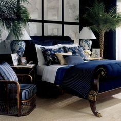 Blue and white bedroom. Designed by Ralph Lauren. Chic and classic. Click to read the post or pin and save for later.