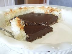 Cooking Gluten (& Dairy) Free: Chocolate Coconut Pie. This is the on the top of my baking list! Shredded coconut crust! Chocolate filling! :)
