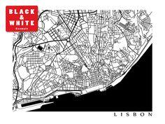 Lisbon Map Lisboa Portugal Art Poster by CartoCreative on Etsy