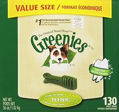 GREENIES Original Canine Dental Chews - TEENIE Treats Size - Value Tub (36 oz.) - 130 Count Greenies