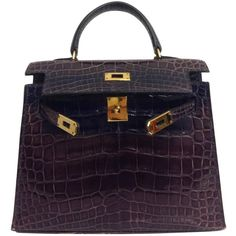 Hermes Kelly 15 Prune Shiny Crocodile Alligator GHW ($45,580) ❤ liked on Polyvore featuring bags, handbags, alligator handbags, genuine leather handbags, real leather handbags, leather handbags and hermes purse