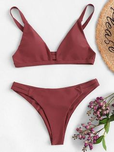 Shop Cut-out V-plunge Top With Ruched Bikini Set online. SHEIN offers Cut-out V-plunge Top With Ruched Bikini Set & more to fit your fashionable needs. Cute Bikinis, Cute Swimsuits, Women Swimsuits, Trendy Bikinis, Bikini Modells, Cut Out Bikini, Plunge Bikini, Summer Bathing Suits, Cute Bathing Suits