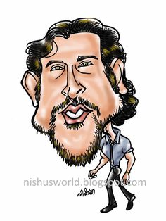 Hrithik Roshan,Indian actor, ( by Nishu's World of Caricatures )