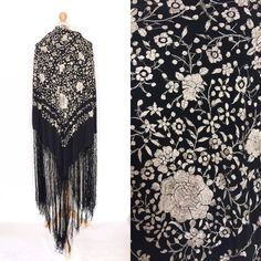 Your place to buy and sell all things handmade Embroidered Flowers, Floral Embroidery, Vintage London, Black And White Design, Floral Tie, Vintage Antiques, All Things, My Etsy Shop, Shawls