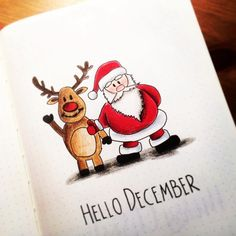 Santa and reindeer hrllo December welcome page - Bullet Journal
