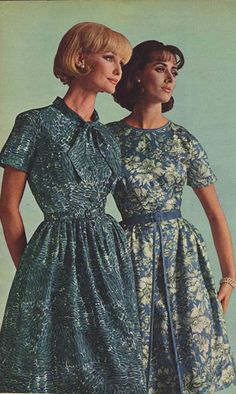 Vintage Women's Acetate Crepe Dresses from a 1964 catalog. #1960s #fashion