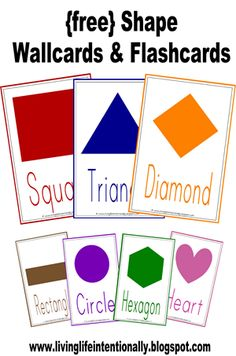 FREE Shape Flashcards and wall cards for toddlers and preschoolers