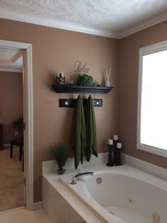22 Best DIY Bathroom Decor is part of Bathtub decor When purchasing the said items, you& suggested to consider several vital ideas - Garden Tub Decorating, Restroom Decor, Master Bathroom Decor, Bathrooms Remodel, Bathroom Makeover, Painting Bathroom, Bathtub Decor, Home Decor, Garden Tub