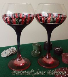 Vegas SET of 2 Hand Painted wine glasses by PaintedGlassBiliana