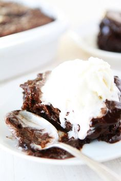 Chocolate Pudding Cake Recipe on twopeasandtheirpod.com A rich and moist chocolate cake with a silky chocolate pudding sauce. Top with vanilla ice cream for a decadent dessert!