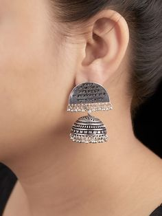 Earrings - Buy Designer Earrings for Women and Girls - The Loom Indian Jewelry Earrings, Silver Jewellery Indian, Jewelry Clasps, Stone Jewelry, Women's Earrings, Silver Earrings, Silver Jewelry, Antique Jewellery Designs, Fancy Jewellery