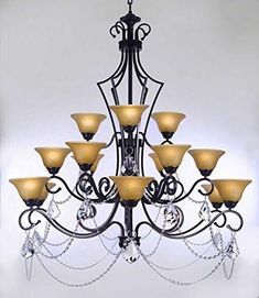 """Swarovski Crystal Trimmed Chandelier Wrought Iron Chandelier With Crystal H51"""" X W49"""" - Perfect For An Entryway Or Foyer - F84-B12/451/15Sw"""