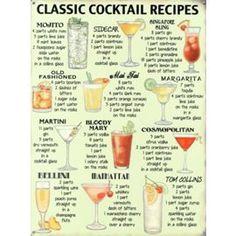 Tesco direct: Classic Cocktail Recipes Tin Sign
