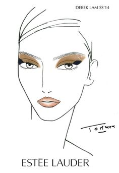 Estee Lauder & Derek Lam Spring/Summer 2014 -- New makeup look created by Tom Pecheux, features golden shimmery eyeshadow with a navy cube of eyeliner in the corner along with navy eyeliner under the eye and mascara.