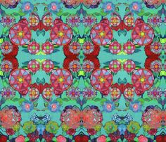 Teal and Red Painted Garden fabric by always_looking_up on Spoonflower - custom fabric