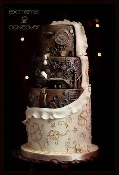 """Unwrapped"" wedding cake reveals steampunk cake underneath!"