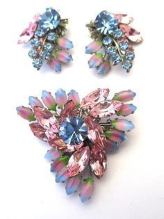 1950's Juliana Watermelon Brooch and Earring Set