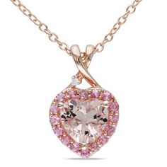 7.0mm Heart-Shaped Morganite, Pink Tourmaline and Diamond Accent Pendant in Rose Rhodium Plated Sterling Silver
