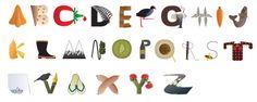 Illustrative alphabet based on Kiwiana Alphabet Print, Kiwiana, Typography Design, Hand Lettering, Shapes, Holiday Decor, Artwork, Prints, Inspiration