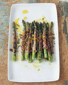 Asparagus Wrapped in Pancetta with Citronette (note: vegetarian friendly recipes are on my other Food board)