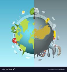 Environmental Pollution Round Concept vector image on VectorStock Global Warming Drawing, Global Warming Poster, Planet Drawing, Earth Drawings, Environmental Pollution, Environmental Issues, Save Earth Posters, Earth Logo, Save Our Earth