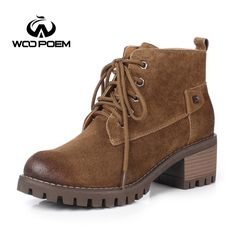 42.35$  Buy here - http://aliu2o.shopchina.info/go.php?t=32793347849 - WooPoem Winter Spring Shoes Women Breathable Pig Suede Motorcycle Boots High Heel Ankle Boots Fashion Sewing Women Boots 91782  #bestbuy