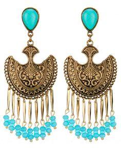 Maxi brinco dourado envelhecido e miçangas azul turquesa Taweret