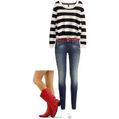 Red cowboy boots, jeans, black and white sweater Red Cowboy Boots, Red Boots, Cute Fall Outfits, Red Outfits, Summer Outfits, Boating Outfit, Cold Weather Fashion, New Wardrobe, Casual Shirts