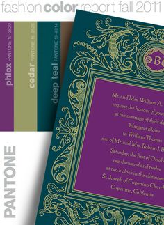 Custom printed wedding invitations in phlox- love the colour