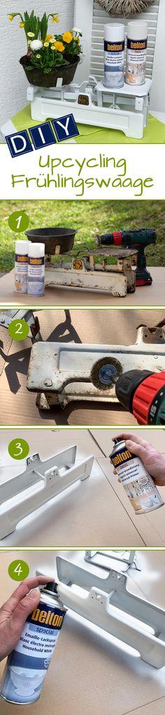 Aus alt mach neu! Auch wenn man die alte Küchenwaage eigentlich gar nicht mehr benötigt, sind solche Antiquitäten zum Wegwerfen viel zu schade. Deshalb wurde diese Waage so weit es geht vom Rost befreit und nach der Grundierung mit dem belton special #Emaille-Lackspray wieder aufgehübscht. So ziert sie jetzt als helle Pflanztopfhalterung die Terrasse und macht Lust auf Frühling. 🌻 Spray Paint Projects, Diy Spray Paint, Painting, Patio, Base Coat, Enamel, Home And Garden, Products, Repurpose