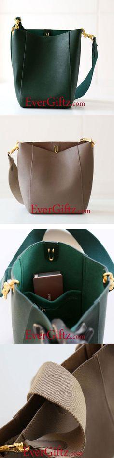 Genuine Leather Cute Purse Tote Bag Bucket Bag Handbag Shoulder Bag Purse