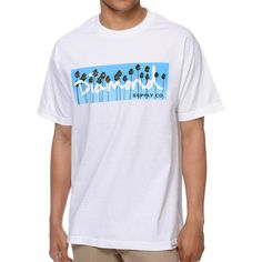 """With the summer right around the corner, make sure you are ready in custom style with the Diamond Supply Co. OG Palms tee shirt for guys in the all white colorway. The OG Palms short sleeve tee shirt comes in a standard fit and features a crew neck collar, durable and comfy cotton construction, a custom logo tag at the bottom front hem and a custom palm trees photo graphic at the front with """"Diamond Supply Co."""" script within the graphic. No matter where you roll this summer, the OG Palms…"""