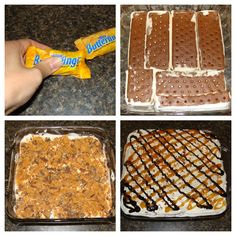 Ice Cream Delight~     •1 box ice cream sandwiches   •1 container cool whip; thawed   •1  bag of bite-size Butterfingers, smashed   •Chocolate syrup   •Caramel syrup