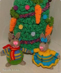 Игрушка Новый год Вязание спицами Новогодние зайки - малыши Пряжа фото 6