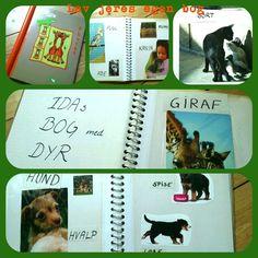 """""""Min egen bog - jeg selv har lavet"""" Det er både enkelt, sjovt og god læring at lave en bog med børn. Det kræver kun et billigt fotoalbum og en stak magasiner. Så er I klar til at lege med både ord, billeder og skrift. Klik for at læse mere på hjemmesiden."""